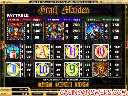 grail maiden casino flash game