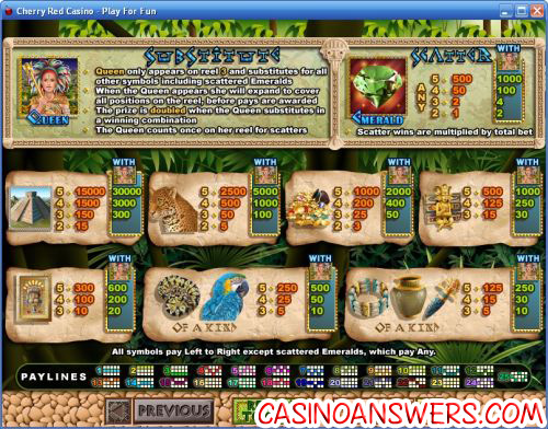 mayan queen video slot bonus game