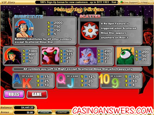 naughty ninjas flash casino game
