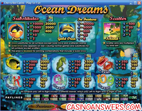 ocean dreams payout schedule