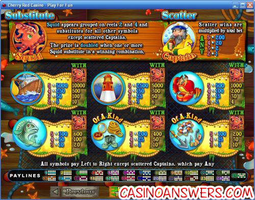 sea captain flash bonus game