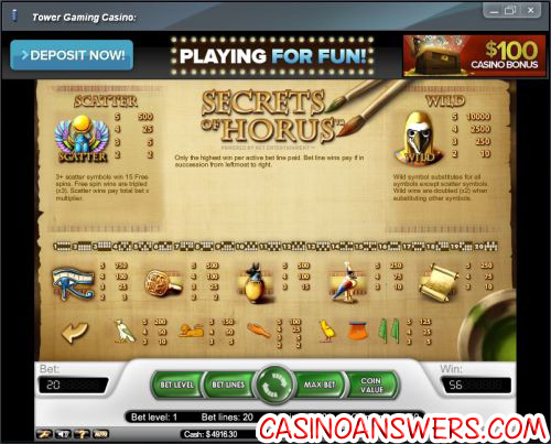 secrets of horus flash game