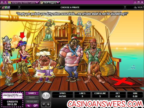 skull duggery pirate slot casino bonus game