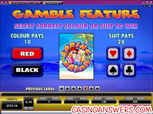 spring break casino bonus game