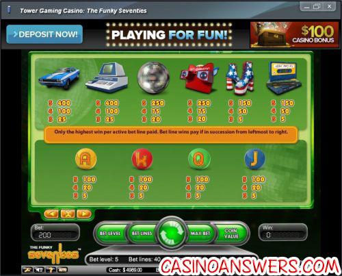 funky seventies casino game