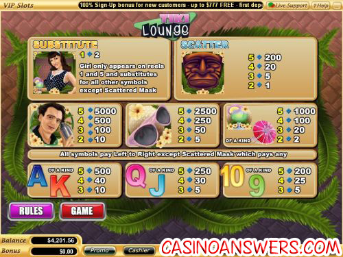 tiki lounge casino flash game