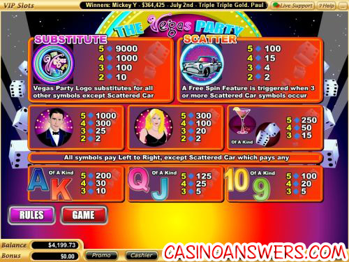vegas party casino bonus game