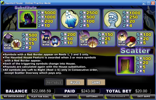 haunted house casino game