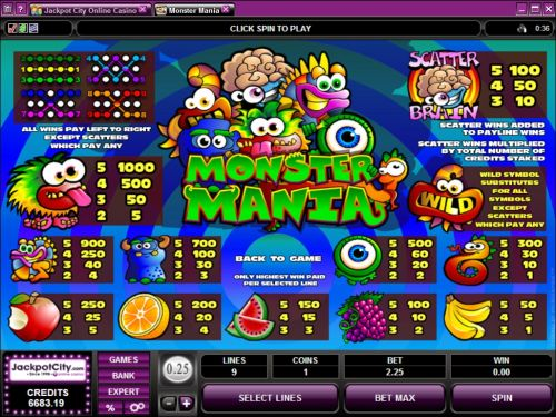 monster mania bonus game
