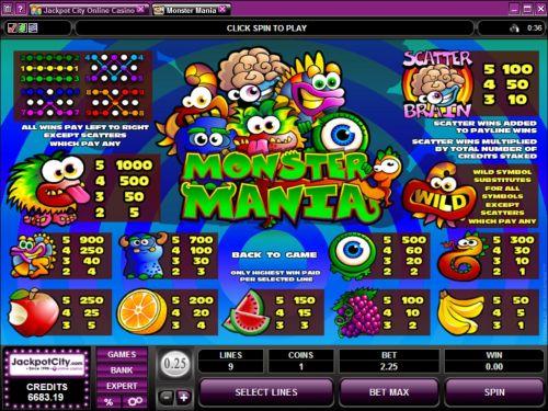 monster mania bonus game