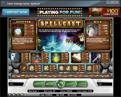 spellcast casino flash game