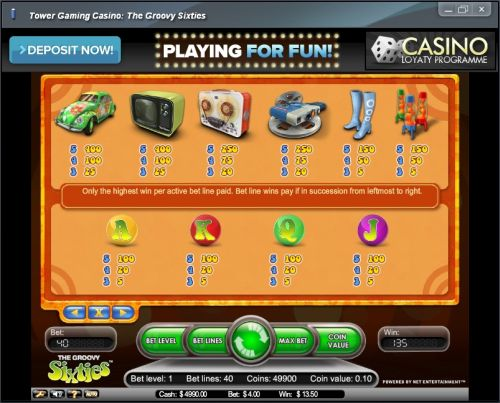 groovy sixties casino game