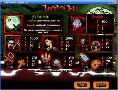vampire bats bonus game