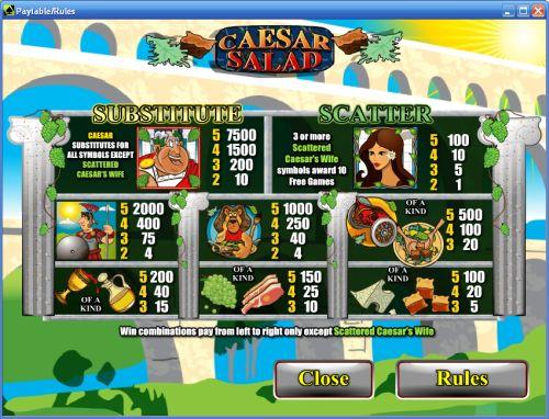 caesar salad video slot