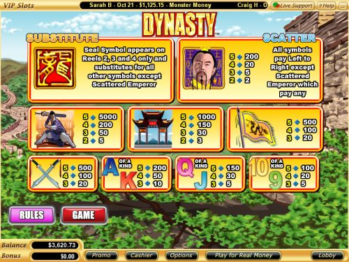 dynasty vegas bonus game