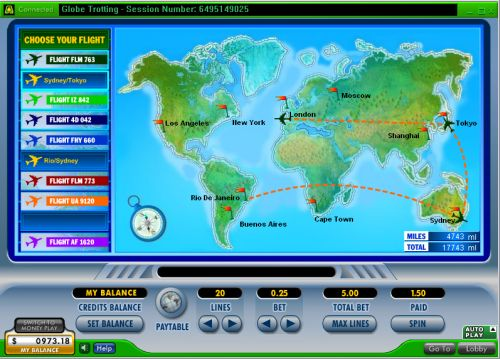 globe trotting map casino game