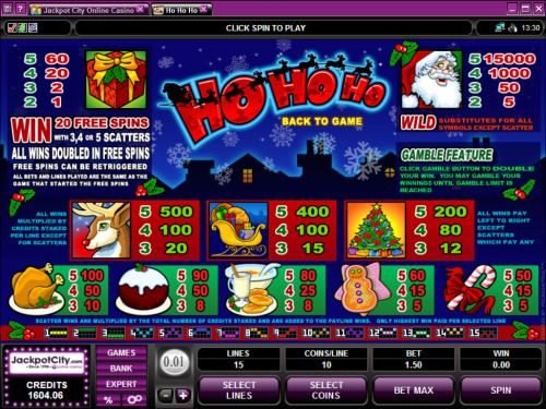 ho ho ho video casino game