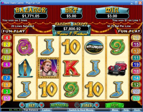 fame and fortune video slot