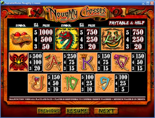 noughty crosses casino flash game