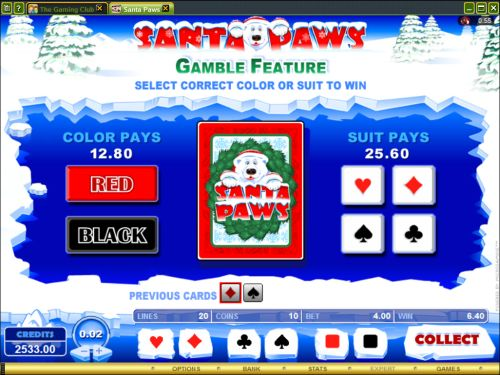 santa paws bonus game