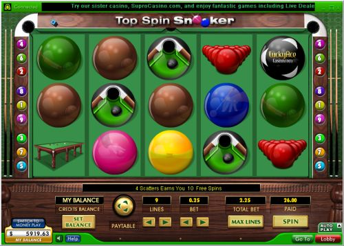 top spin snooker slot