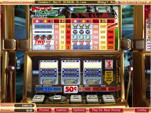 win place or show progressive jackpot slot