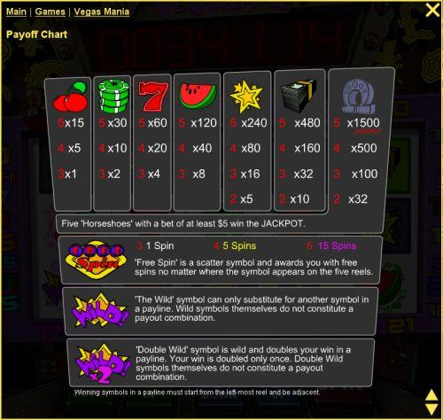 vegas mania casino game