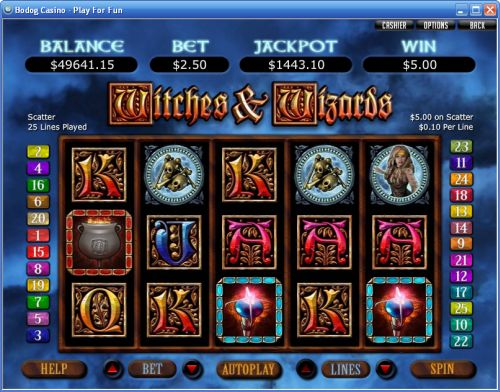 witches wizards video slot