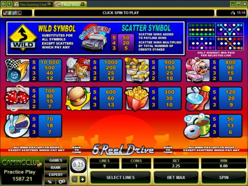 5 reel drive casino game