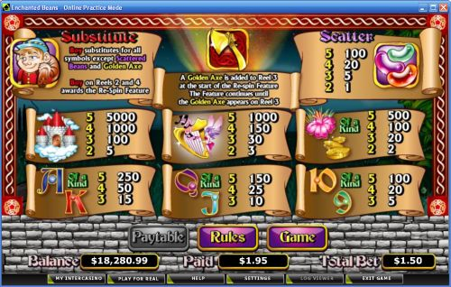 enchanted beans slot machine