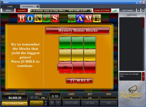 lucky number casino game