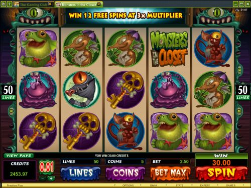 monsters in the closet video slot