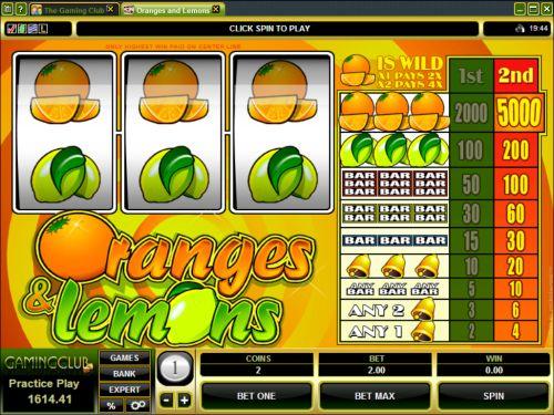 oranges and lemons classic slot