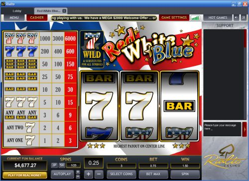 red white blue classic slot