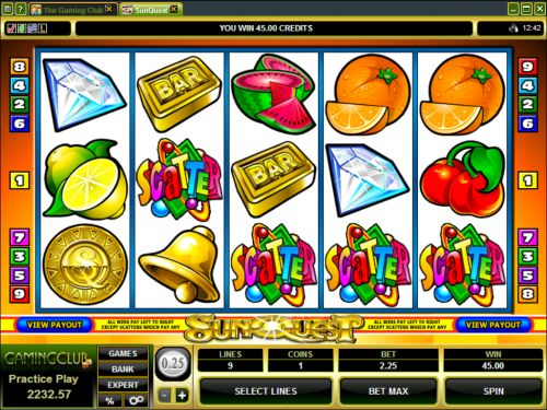 sunquest video slot