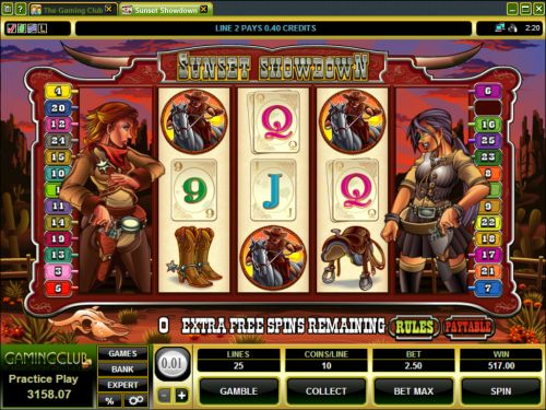 sunset showdown video slot