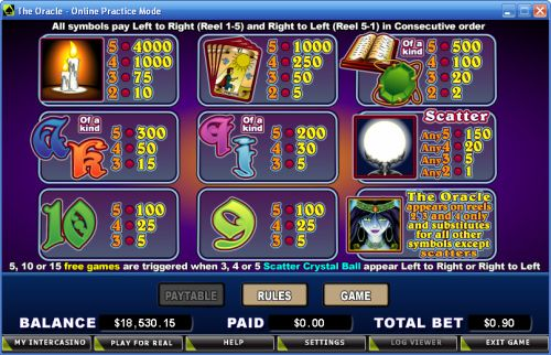 the oracle casino game