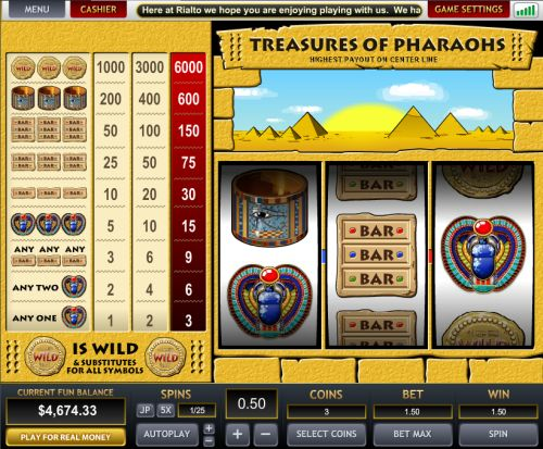 treasures of pharaohs slot