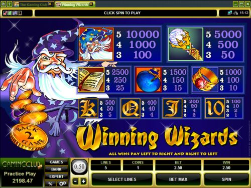 winning wizardas casino game