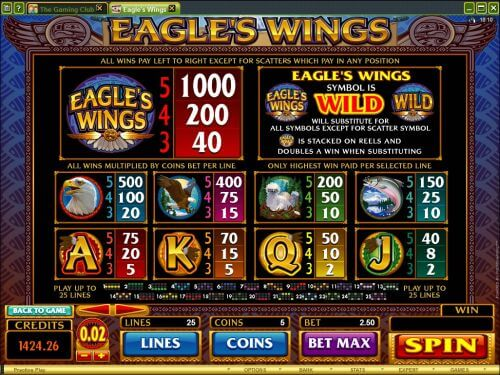 eagles wing casino game
